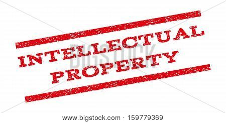Intellectual Property watermark stamp. Text caption between parallel lines with grunge design style. Rubber seal stamp with scratched texture. Vector red color ink imprint on a white background.