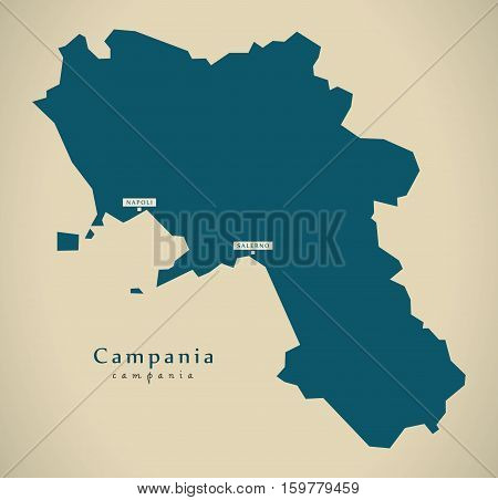 Modern Map - Campania IT Italy illustration