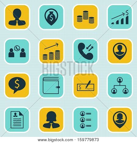 Set Of 16 Human Resources Icons. Can Be Used For Web, Mobile, UI And Infographic Design. Includes Elements Such As Resume, Check, Wallet And More.