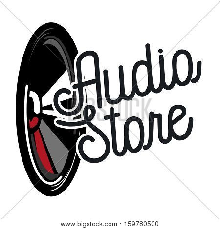 Color vintage audio store emblem, Audio Technology, Abstract Shape