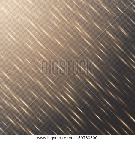 Lens flare background. Christmas bokeh. Spotlight vector. Sun flare. Illustration of a transparent backdrop.