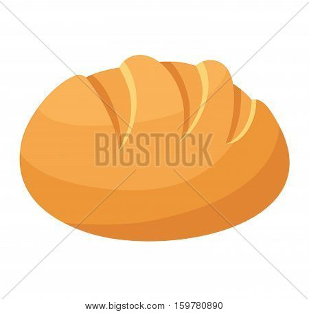 Bread isolated on white background. Vector food fresh tasty breakfast loaf wheat and diet crust natural eat fresh bake. Health meal baker french delicious.
