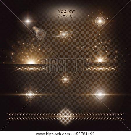 Lightning background. Gold bokeh. Lens flare vector. Set of golden light effects on a transparent backdrop.
