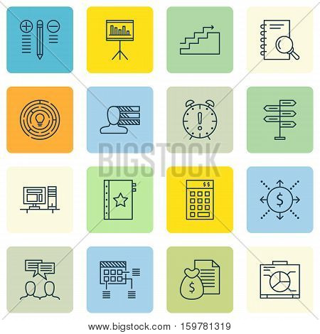Set Of 16 Project Management Icons. Can Be Used For Web, Mobile, UI And Infographic Design. Includes Elements Such As Revenue, Analysis, Discussion And More.