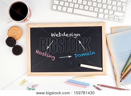 Webdesign Hosting Domain. Chalkboard, computer keyboard, coffee mug, biscuits and stationery on a white table.
