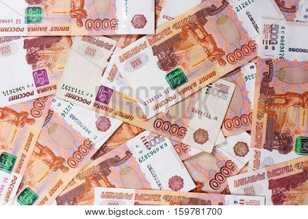 Russia Money Background. Heap Of Rubbles