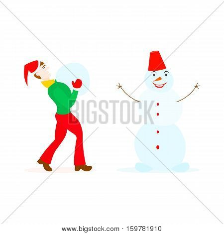 Teenager in santa hat and mittens playing with a snowman in a cartoon style isolated on white background