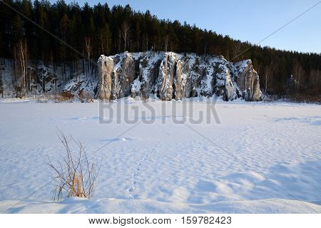 Winter view of the cliff