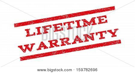 Lifetime Warranty watermark stamp. Text caption between parallel lines with grunge design style. Rubber seal stamp with dust texture. Vector red color ink imprint on a white background.