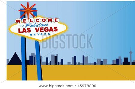 las vegas strip with welcome sign