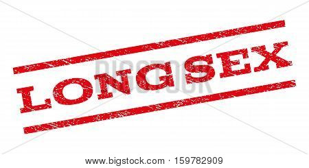 Long Sex watermark stamp. Text tag between parallel lines with grunge design style. Rubber seal stamp with unclean texture. Vector red color ink imprint on a white background.