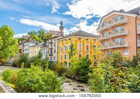 Brunico Town with river Rienz in Italy