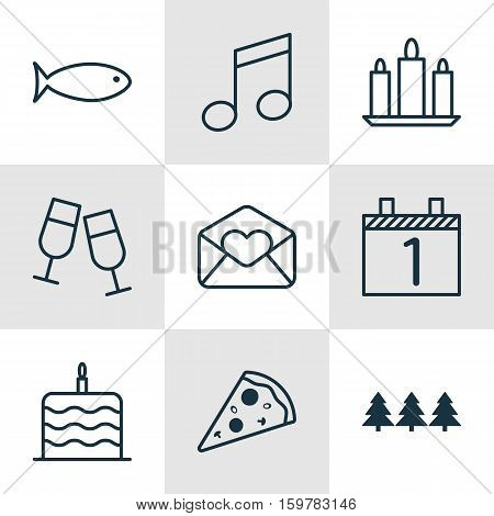 Set Of 9 New Year Icons. Can Be Used For Web, Mobile, UI And Infographic Design. Includes Elements Such As Flame, Pizza, Aquatic And More.