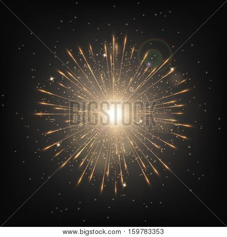 Snow background. Bokeh lights. Christmas decoration. Snowflake vector. Sun rays. Illustration of a black backdrop.