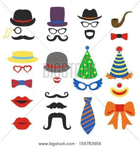 Birthday party photo booth props - Glasses, hats, lips, mustaches, ties and pipe photo booth, scrapbook