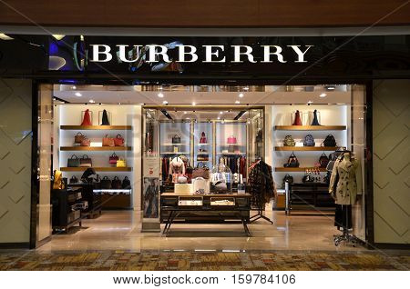 Burberry Fashion Shop Inside Of Singapore Changi Airport.