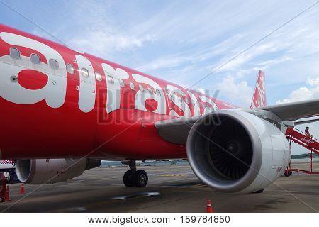 Close-up On Thai Air Asia Engine