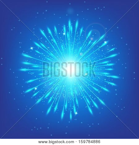 Shine background. Fairy lights. Blue bokeh. Star glow. Illustration of a cerulean backdrop.