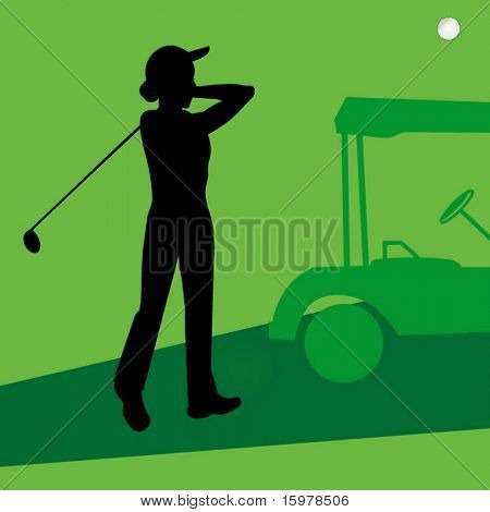 lady golfer with cart