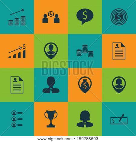 Set Of 16 Management Icons. Can Be Used For Web, Mobile, UI And Infographic Design. Includes Elements Such As Prize, Discussion, Money And More.