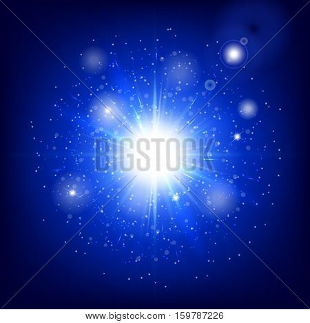 Bling background. Abstract light. Glow vector. Christmas bokeh. Spotlight isolated. Illustration of a blue backdrop.