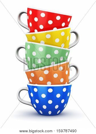 3D render illustration of the pile from color porcelain coffee cups or china drink mugs with colorful polka dot ornament and saucers isolated on white background