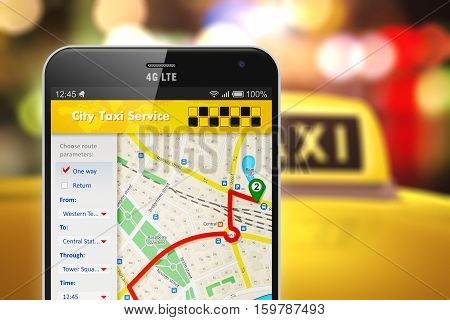 3D render illustration of modern metal black glossy touchscreen smartphone with online satellite GPS taxi application software on screen with taxi car roof with yellow taxi sign in blurred bokeh background with selective focus effect