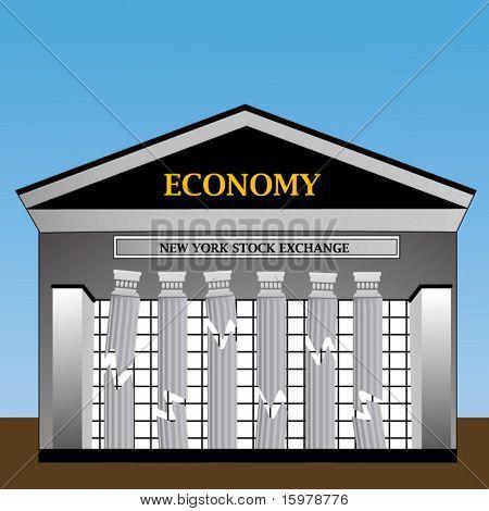 New York Stock Exchange with columns crumbling