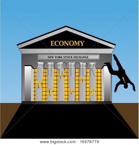 man jumping from New York Stock Exchange - columns broken
