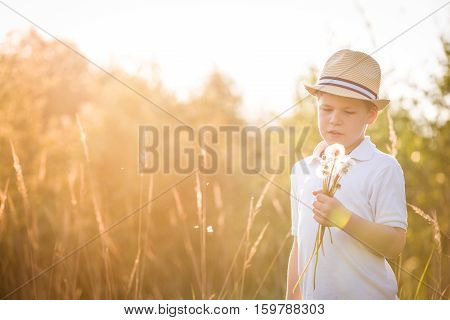 Portrait of adorable kid boy in straw hat standing on a summer meadow. Sunset in the park. Outdoors. Vacations. Child walking on a sunny summer day and blowing on dandelions