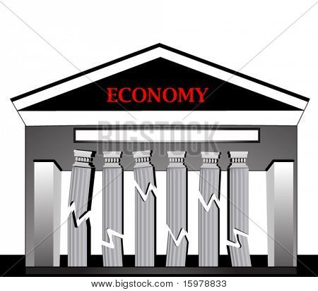 building with broken falling pillars - downward economy concept