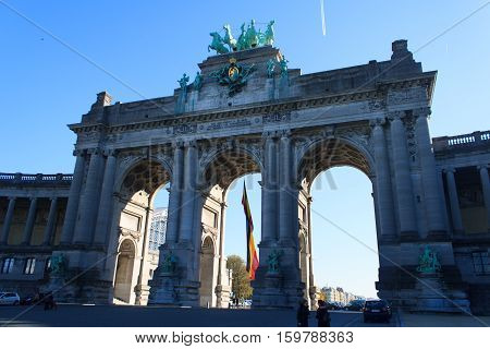 The Triumphal Arch in the Jubilee Park Brussels - one of the architectural symbols of Brussels, Belgium