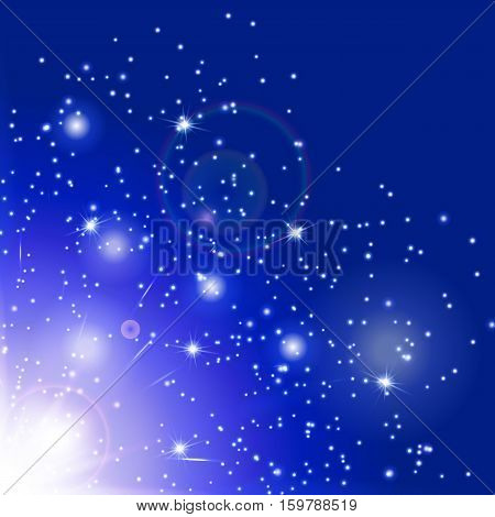 Snowflake background. Flare light. Burst vector. Magic wand. Sun glow. Illustration of a azure backdrop.