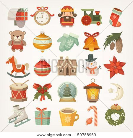 Set of colorful flat stickers and icons christmas decorations and christmas tree balls and toys