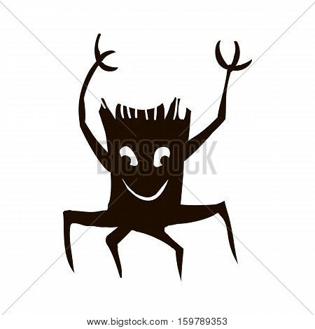 Silhouette of tree or stump icon for Halloween isolated on white background