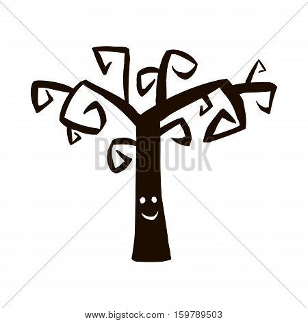 Silhouette of tree icon for Halloween isolated on white background