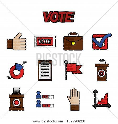 Vote flat icons set. Referendum polling and choice voter, vector illustration