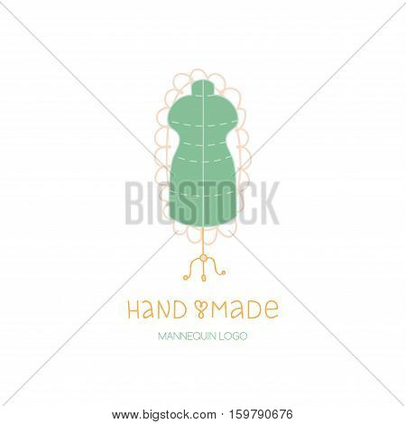 Hand made logo tailor dummy, mannequin hobby icon