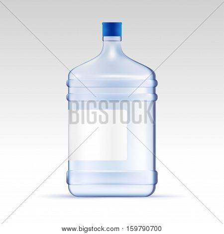 Vector water for cooler. Transparent bottle for office. Water delivery mock up