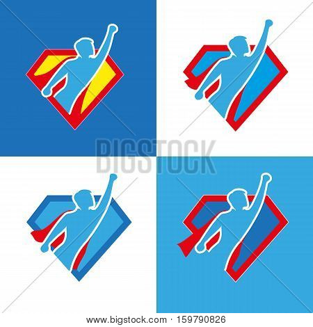Superhero icon set - vector superhero silhouette wearing red cloak flying on wind.