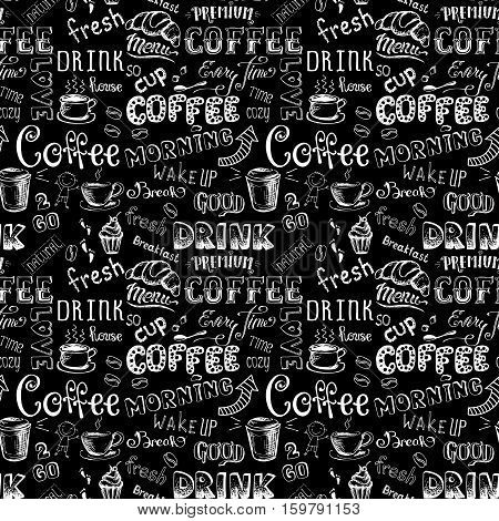 Seamless pattern with Coffee hand drawn lettering on black background stock vector illustration