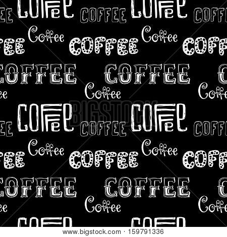 seamless doodle coffee pattern on black background hand drawn lettering stock vector illustration