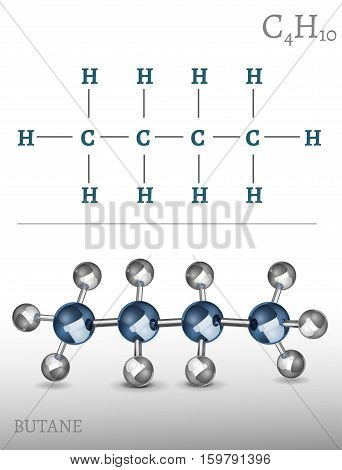 Butane molecule in 3D style. C4H10 vector illustration isolated on a light grey background. Scientific, educational and popular-scientific concept.