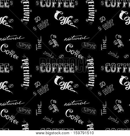 seamless doodle coffee pattern on black background , hand drawn, stock vector illustration