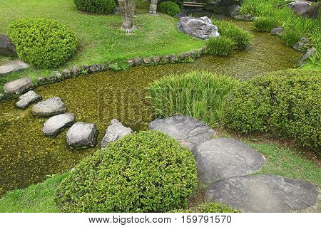 Japan, Himeji, Himeji Koko-en Gardens, stream