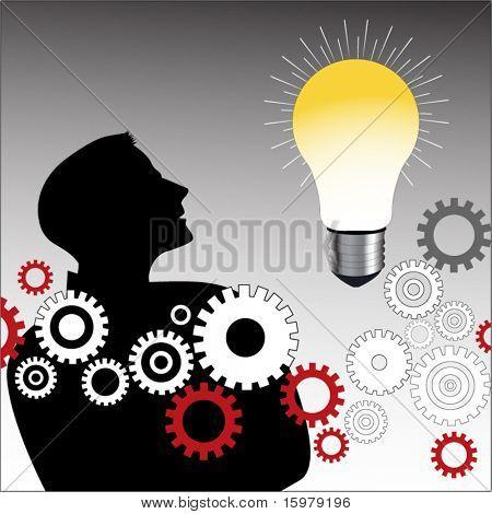lightbulb  man  and gears