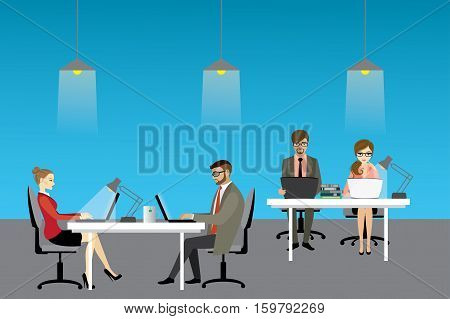 Coworking center concept, people working together. Stock vector illustration
