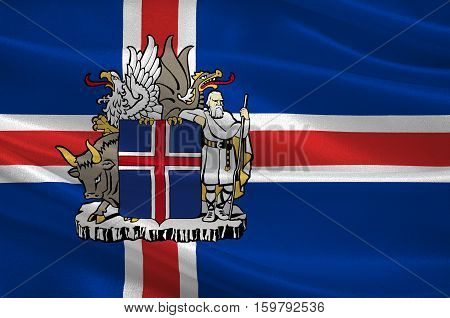 Flag of Republic of Iceland is a Nordic island country. 3d illustration
