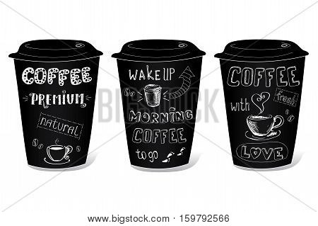 Black coffee cup covered with hand drawing on the theme of coffee, vector illustration on a white background