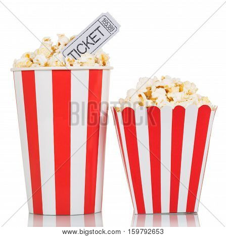 Two striped box with popcorn and movie tickets isolated on white background